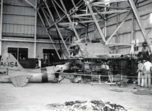 Japanese zero sits in Hickam Field hangar after it was shot down at Fort Kamehameha on December 7, 1941.