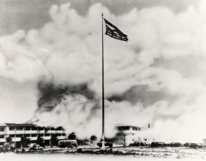 Flag still flies during bombing of Hickam Field, December 7, 1941.