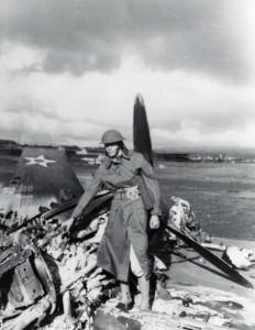 B-18 wreckage on flight line at Hickam Field, December 7, 1941.