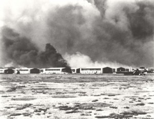Hangar row after bombing of Hickam Field December 7, 1941 as viewed from the flight line.