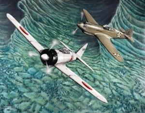 A -40 Warhawk pursues a Japanese A6M2 Zero-sen fighter on December 7, 1941. Artist TSgt. Bryan Lopatic.