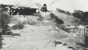 B-17 remains on Hickam Field flight line, December 7, 1941.