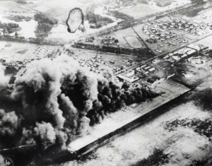 This photo by a Japanese pilot shows Wheeler aircraft and other facilities in flames. During attack 37 men at Wheeler lost their lives, six were reported missing and 53 were wounded, December 7, 1941.