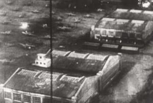 Wheeler Field flight line under attack, December 7, 1941.