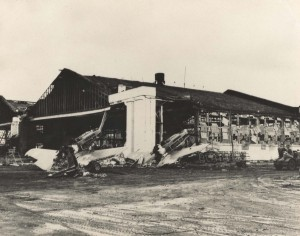 Burned out P-40Bs in front of Hangar 3, Wheeler Field, December 7, 1941.