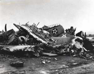 A heap of wrecked planes at Wheeler Field caused by Japanese bombings on December 7, 1941.